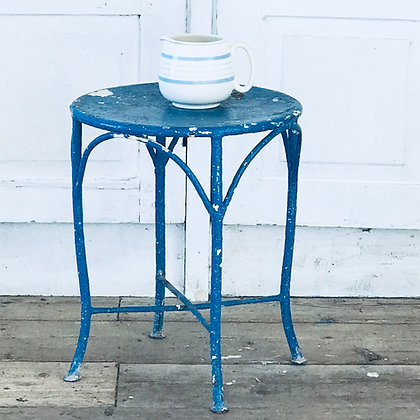 Antique Blue Metal Side Table/Stool