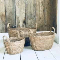 Seagrass Baskets Oval Natural with Handle Set of 3 Max