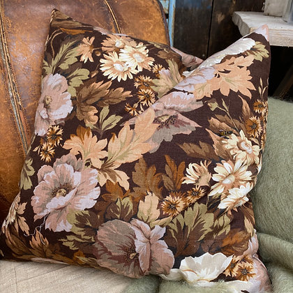 Vintage 1970s Brown Floral Cushion Cover