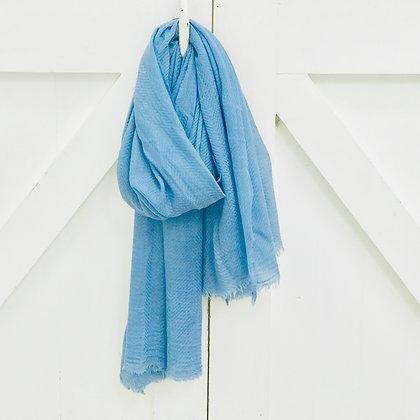 Fine Wool Block Printed Scarf-Cornflower Blue