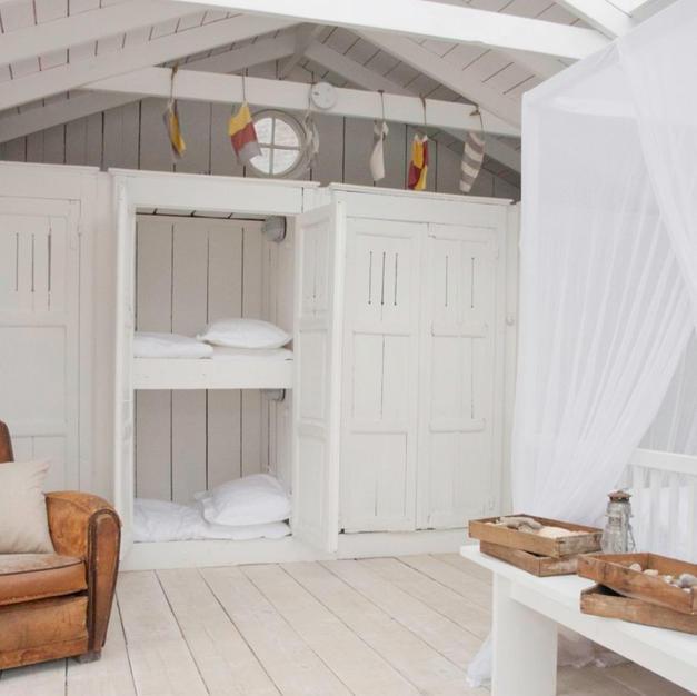 Cleverly hidden bunkbeds in a beach house