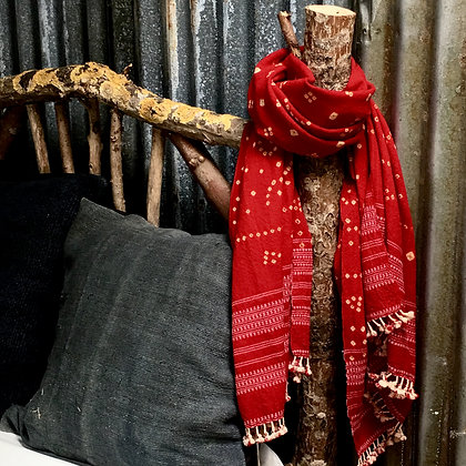 Artisan Bandhari wool scarf/red red and pink