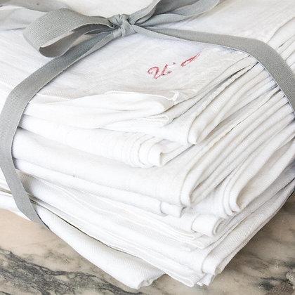 Bundle of 12 Vintage Red Embroidered napkins