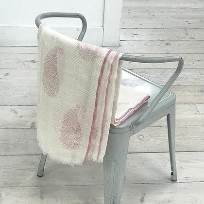 Fine Wool Block Printed Scarf- Paisley Pink