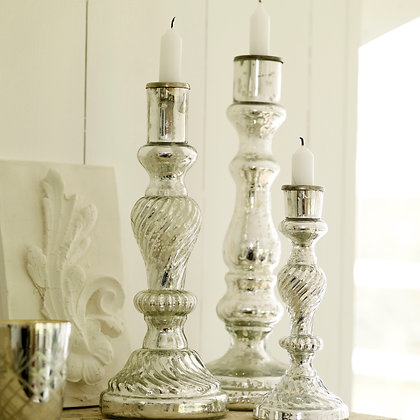 Antiqued Mercury Glass Candlestands