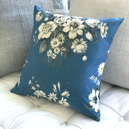 Vintage Floral Cushion Cover- Blue