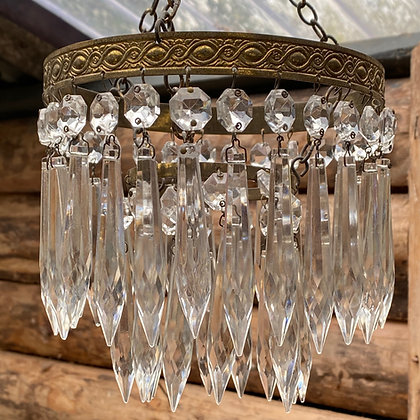 Vintage Two Tier Brass and Crystal Chandelier