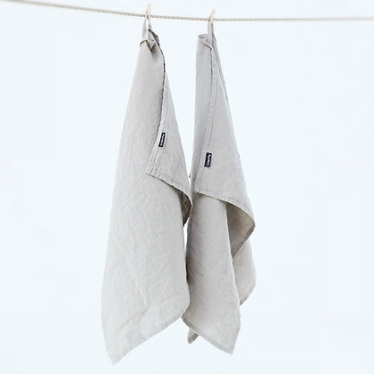 Stone Washed Linen Tea Towel Taupe