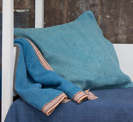Hand-Dyed Antique Tapis Cushion Cover - Turquoise