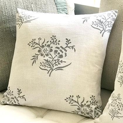 Posy Cushion Cover -Gustavian Grey