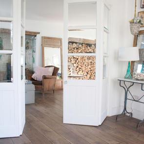 Glazed doors to divide living zones