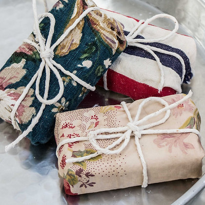 Vintage fabric covered soap