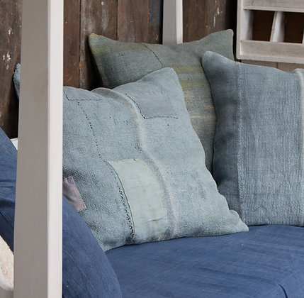 Hand-Dyed Antique Tapis Cushion Cover - Denim