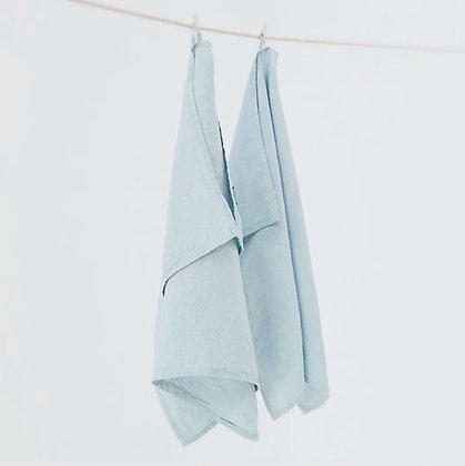 Stone Washed Linen Tea Towel Stone Blue