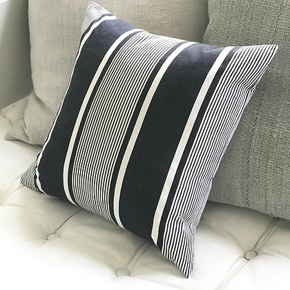 Navy and White Antique Ticking Cushion Cover