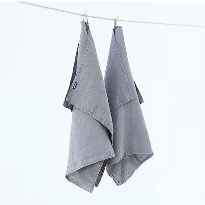 Stone Washed Linen Tea Towels Steel Grey