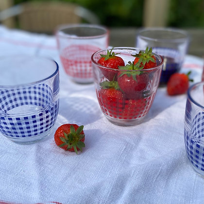 Duralex Gigogne Vichy Blue and Red Glasses (Set of 6)