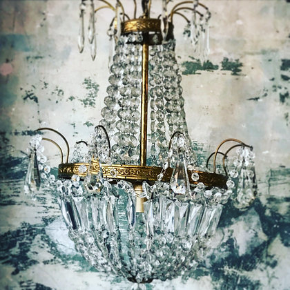 Vintage brass and crystal tent and bag chandelier