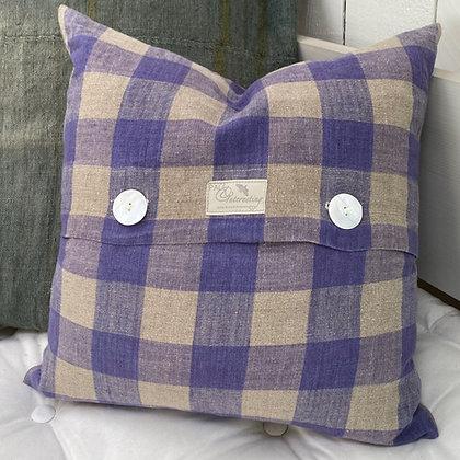 Vintage Lavender Linen Check Cushion Cover