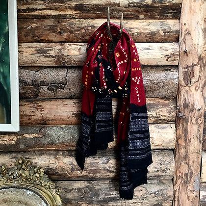 Artisan Bandhari Wool Scarf/throw Black Border