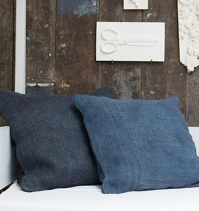 Hand-Dyed Antique Tapis Cushion Cover - Indigo