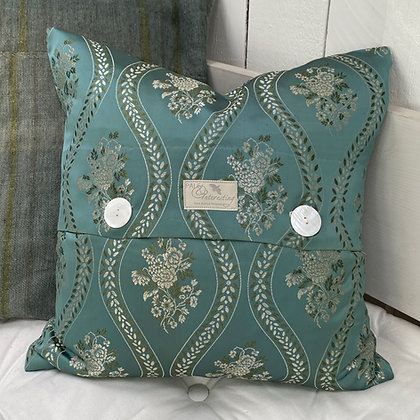 Vintage 1950s Teal Brocade Cushion Cover