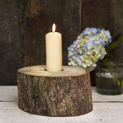Huge Rustic Log Candle Holder