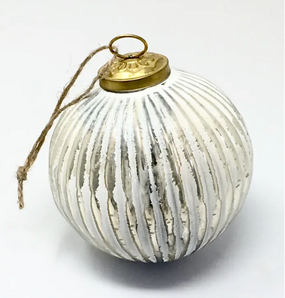 Antique White Glass Ribbed Bauble set of 4
