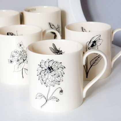 Modern Botanicals Flower Mugs