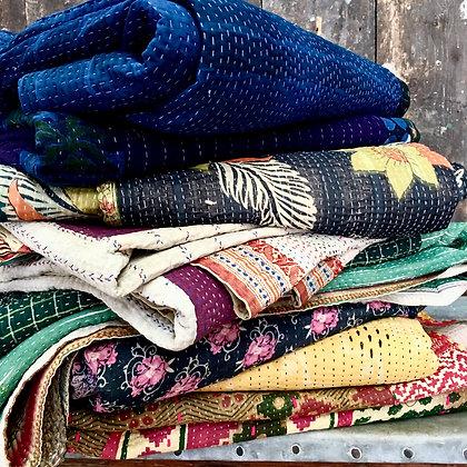 Vintage Floral Kantha Quilts