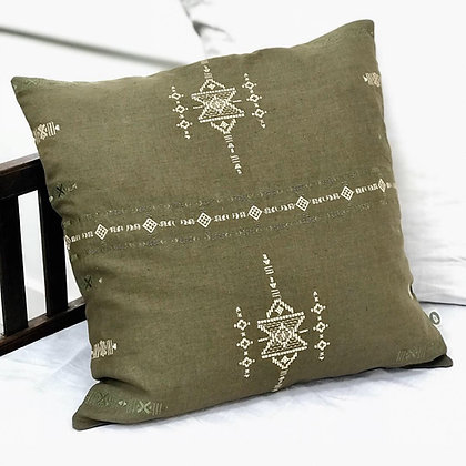Olive Green Embroidered Cushion Cover