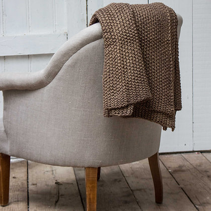 Peat Knitted Cotton Throw