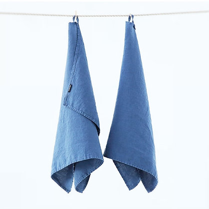 Stone Washed Linen Tea Towel Indigo
