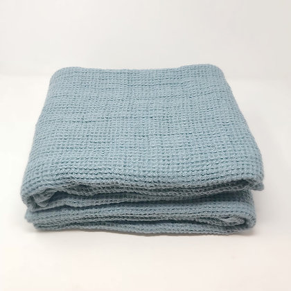 Chunky Waffle Weave Linen Bath Towel Stone Blue