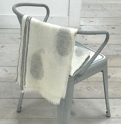 Fine Wool Block Printed Scarf- Paisley Grey