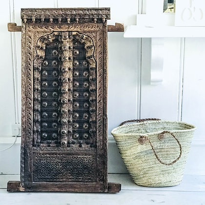 Antique Indian Wooden Window with Shutters