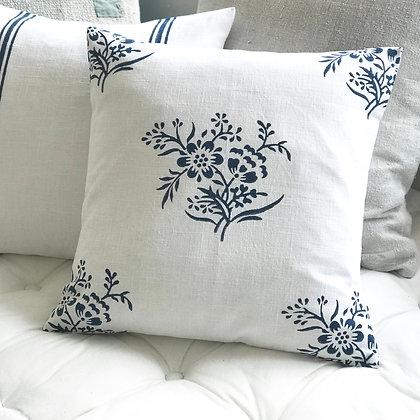Posy Cushion Cover - Indigo