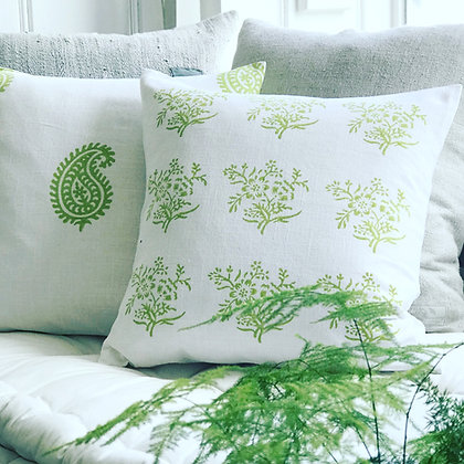Sprig Cushion Covers-Lime