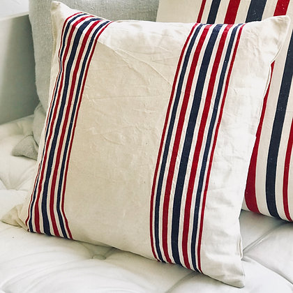 Vintage French Striped Cushion Covers- Small