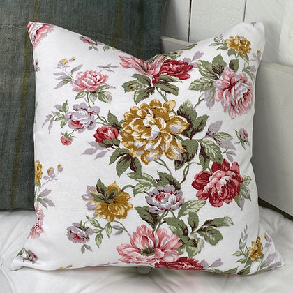 Vintage Pink and Yellow roses Cushion Cover