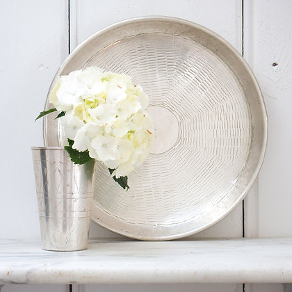 Basket Weave Silver Tray- Large