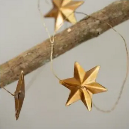 Golden Star Garland Christmas Decoration