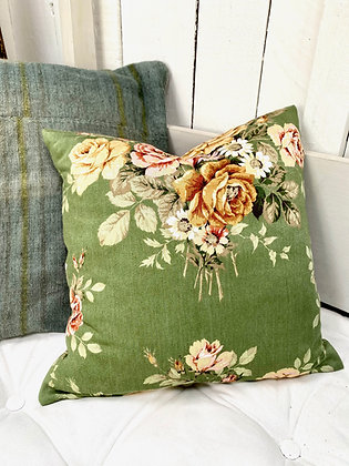 Vintage Green Floral Cushion Cover