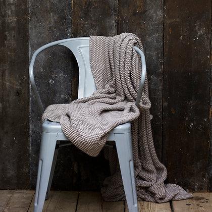 Grey Cotton Moss Stitch Blanket