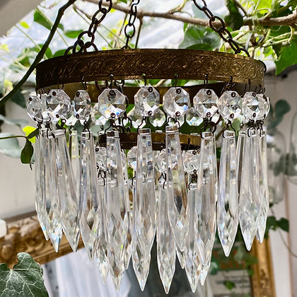 Small Vintage Brass and Crystal Chandelier