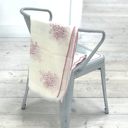 Fine Wool Block Printed Scarf- Posy Pink