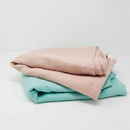 Lithuanian Stone-Washed Waffle Weave Bath Towels