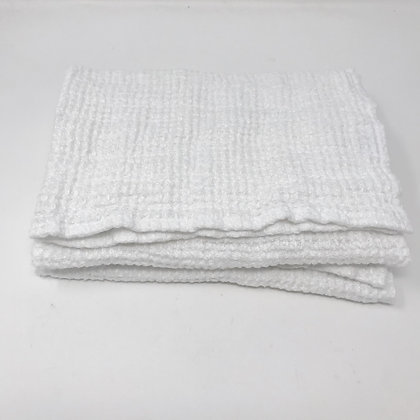 Chunky Waffle Weave Linen Hand Towel White