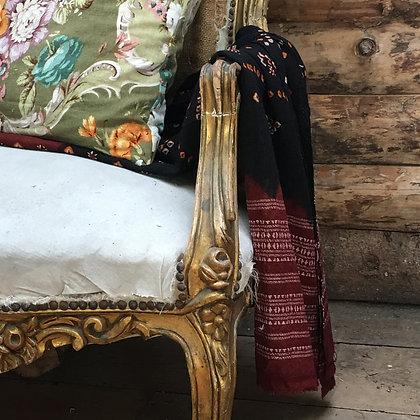 Artisan Bandhari wool throw/scarf black and brick
