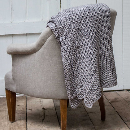 Grey Knitted Cotton Throw